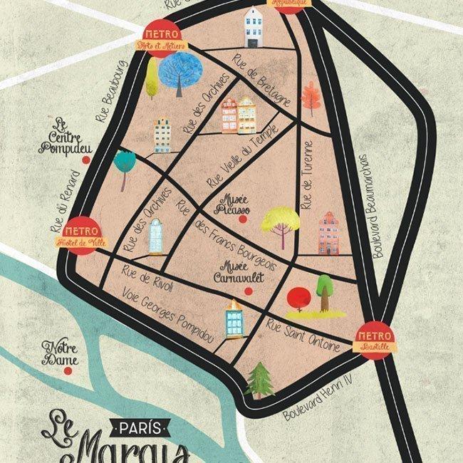 Ilustración del mapa de París